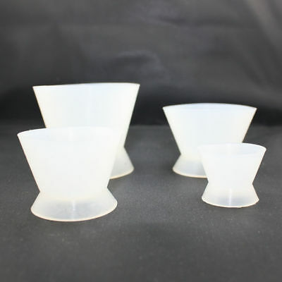 4pcs/set Dental Lab Silicone Mixing Bowl Cup Flexible Resin Cement Tool White
