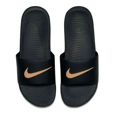 Nike Kawa Solar Soft Slide Slider Slip On  Pool Sandals Junior Womens Black Gold
