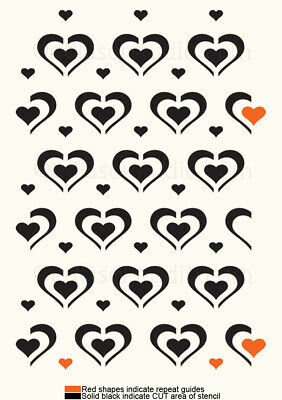 Love Heart Pattern Stencil Template Paint Furniture Card making Crafts HE62