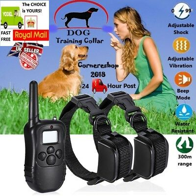 NEW  Anti-Bark LCD Electric Shock E-Collar Dog Training Remote Control UK STOCK