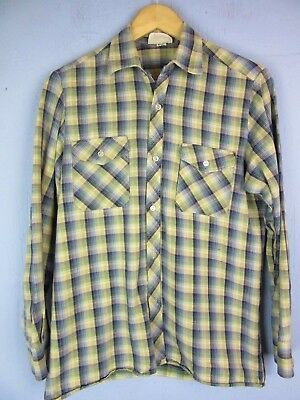 VINTAGE RETRO blue CHECK FLANNEL SHIRT long sleeve SMALL cs10