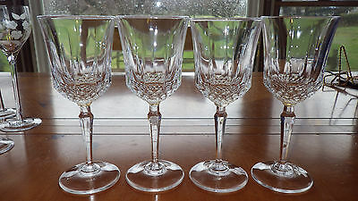 Heavy Crystal Wine Glasses by Cristal D'Arques of France 4 6 oz elegant stems