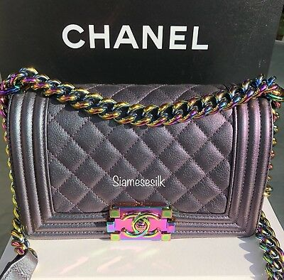 aff05e188202 Chanel Boy Iridescent mermaid purple Small bag Goatskin rainbow hardware