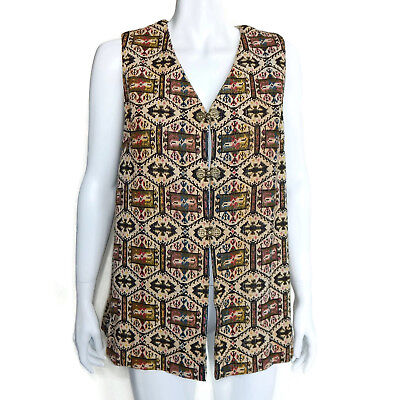 Vintage 1970s Carpet Bag Tapestry Needlepoint Long Tunic Clasp Hardware Vest OS