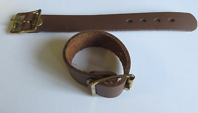"Pair Of Supple Tan Leather Utility Straps 3/4"" & 1"" Wide - Brass Plated Buckles"