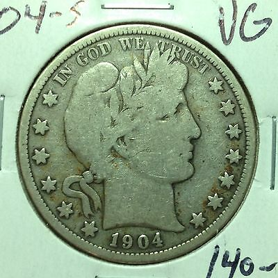 1904-S    VG    Barber Half Dollar   LTY and part of IR    Nice Coin