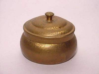 Antique Pozzoni's Complexion Powder Brass Container Leaves Flowers