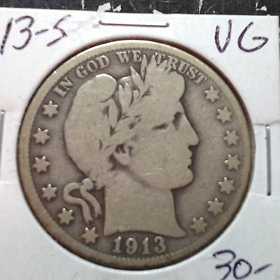 1913-S   VG  Barber Half Dollar   LY part of IT
