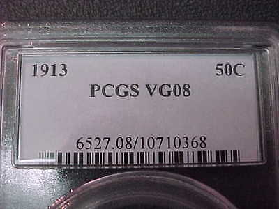 PCGS VG-8 1913-p  Barber Half Dollar LY and part of IT  #1