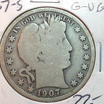 1907-S   G-VG   Barber Half Dollar   Y part of LT    Nice Coin