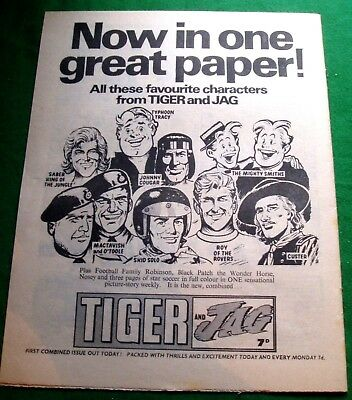 Tiger And Jag Comic 1St Joint Issue   Stunning  Advert  From 1969