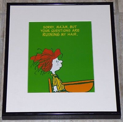 PEANUTS PEPPERMINT PATTY FRAMED 1980s POSTER PRINT SCHOOL HAIR