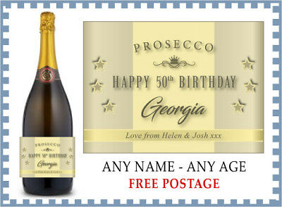 HAPPY BIRTHDAY Personalised Prosecco Label (any name & age) 18 21 40 50