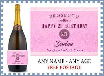 Personalised HAPPY BIRTHDAY Prosecco Label (any age) 18th 21st 50th etc