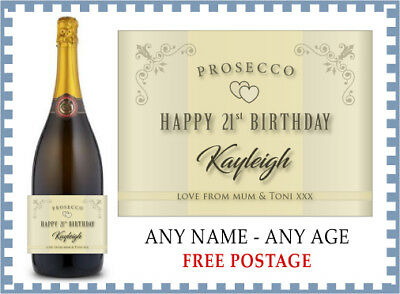 Personalised HAPPY BIRTHDAY Prosecco Label (any name & age) 18 21 30 40 50