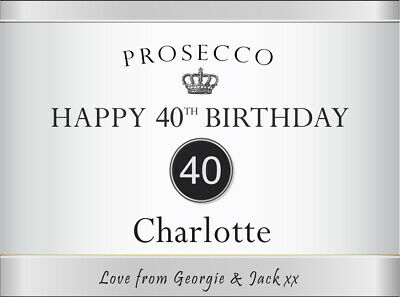 Personalised Happy Birthday PROSECCO LABEL (any name, age 18 21 25 30 40 50 70)