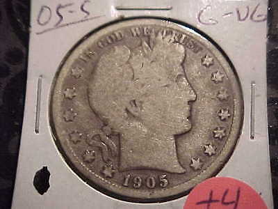 1905-S  G-VG  Barber Half Dollar   Y and part of T