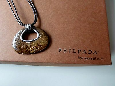 SILPADA Bronze Age Bronzite Pendant Leather Necklace N2014 RETIRED
