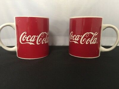 Coca Cola Coffee Cups Mug Drink 1996 Gibson Red White Logo - LOT OF 2 b-AK