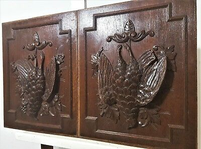 Pair Hunting Trophy Panel Antique French Carving Architectural Salvage Panelling