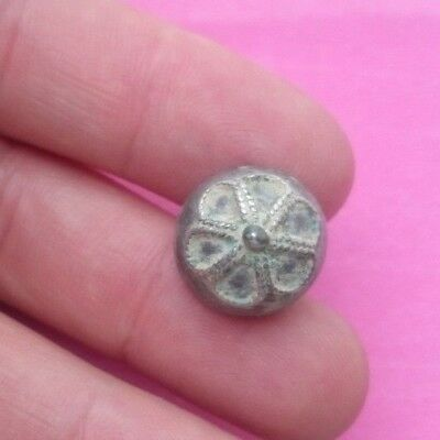 RARE FANTASTIC 17TH CENTURY SILVER BUTTON  HANDMADE -  RARE FORM   15mm