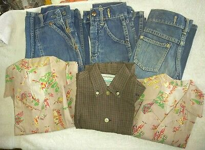 Lot of 6 Antique Vintage Boy's 1940's Clothing (3)Shirts and (3) Jeans WWII Era