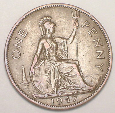 1947 UK Great Britain British One 1 Penny King George VI Coin VF+