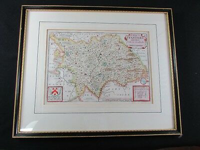 Hand Colored Map of Staffordshire Originally Printed for Rich Blome London 1671