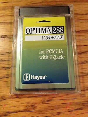 Hayes Optima 288 V.34 & Fax for PCMCIA With EZjack Model534PAM For Laptop