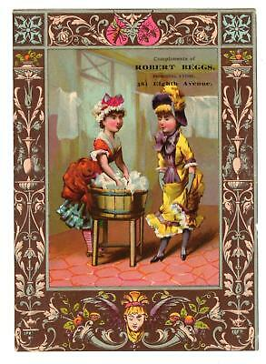 ROBERT BEGGS*NEW YORK CITY*8th AVE*LADIES DOING LAUNDRY*VICTORIAN TRADE CARD
