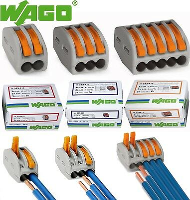Wago Lever-Nuts 2,3,5 Conductor Cage Clamp Terminal Block 12-28 AWG ,32A