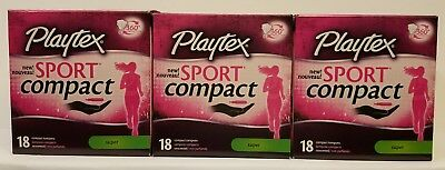 3 Playtex Sport Compact Unscented Tampons, Super - 18 Count ea. Free Shipping