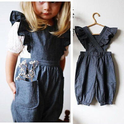 Toddler Kids Baby Girls Ruffle Jumpsuit Denim Romper Long Pants Outfit Clothes