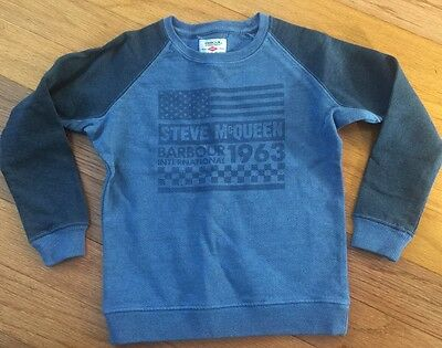 New Barbour International Steve McQueen Sweatshirt Blue Cotton sz 6-7