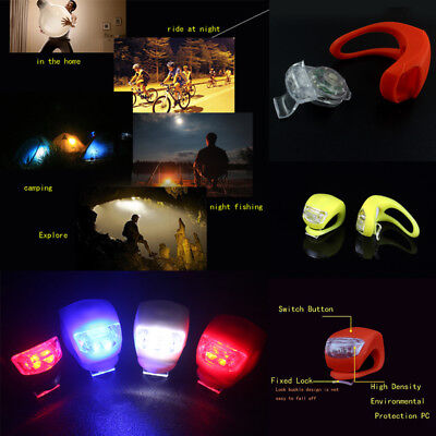 NEW Bike Bicycle Cycling Head Front Rear Wheel Silicone LED Flash Light Lamp