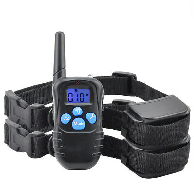 300M Waterproof LCD Remote Dog Rechargeable Shock Training Collar 100LV For 2Dog