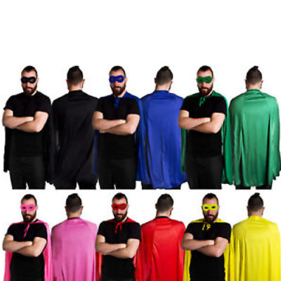 SUPERHERO CAPE AND MASK ADULT RED GREEN BLUE YELLOW BLACK or PINK KIT HEROES