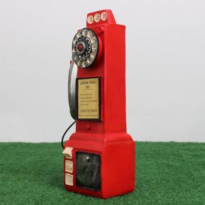 Vintage Resin Phone Rotary Dial Telephone Old Fashioned Gift Coin Box Red