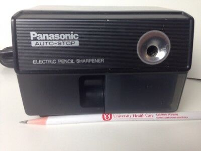 1980's Vintage Panasonic Auto Stop Electric Pencil Sharpener KP-110 Black Tested