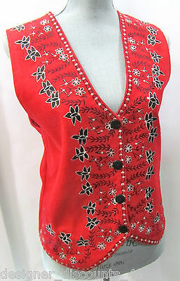 NEW DIRECTIONS Felt WOOL EMBROIDERED WESKIT STYLE VEST lined button top coat M