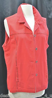 NEW MARI-LYN of Miami RED HAT SOCIETY Bead Embellished red button VEST SIZE M