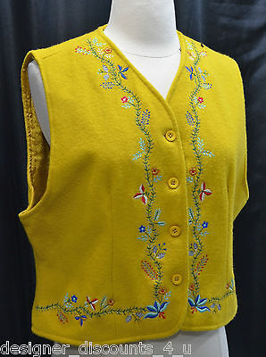 KARAVAN Boiled WOOL GOLD EMBROIDERED  VEST Deco button up top coat SIZE L