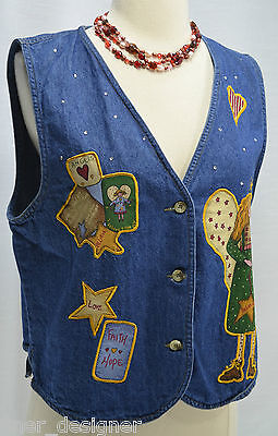 Quacker Factory Blue Jean Denim Vest NEW Button front Believe Angels Can Fly Top