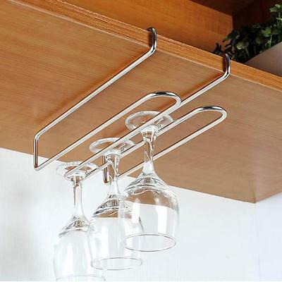 Stainless Steel Cup Holder Under Cabinet Wall Wine Glass Hanging Racks J