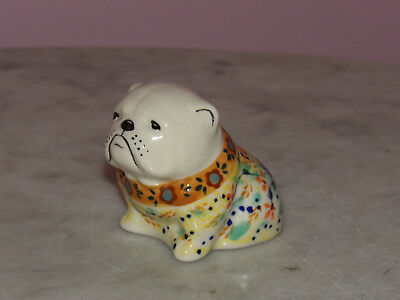 Genuine Handmade UNIKAT Polish Pottery Bull Dog Figurine!  Butterfly Summer!