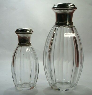ANTIQUE 1900 TWO SOLID SILVER FRENCH PERFUME CRYSTAL GLASS BOTTLES signed FRENCH