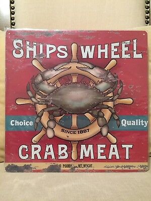 NEW Red Ships Wheel Metal Crab Meat Restaurant Decor Nautical Seafood Sign