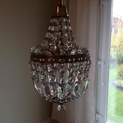 Sparkling Vintage Lead Crystal Empire Style Chandelier. Probably French.
