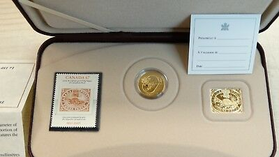 2001 PROOF 150th ANNIVERSARY CANADA SILVER & GOLD PLATED COIN & STAMP SET