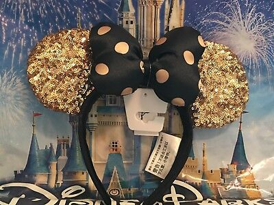 Disney Parks Paris Minnie Gold Sequin Ears Headband Black & Gold Polka Dot Bow